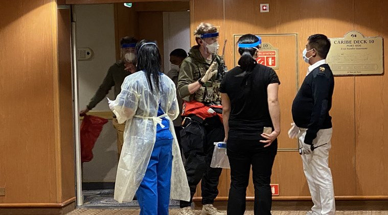 Medical staff aboard the Grand Princess cruise ship which is idling off the coast of San Francisco, Thursday, March 5, 2020. (Bill Pearce via The New York Times)